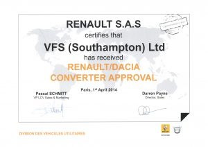 VFS Ltd approved by Renault for Tipper Dacia and Dropside Dacia